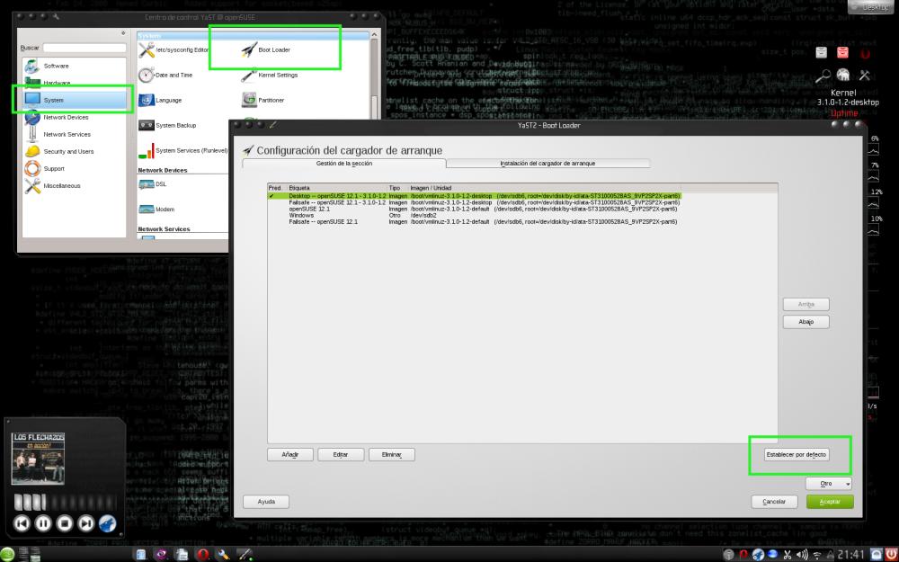 Modificar las opciones de arranque del GRUB  en openSUSE (1/3)