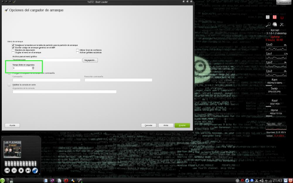 Modificar las opciones de arranque del GRUB  en openSUSE (3/3)
