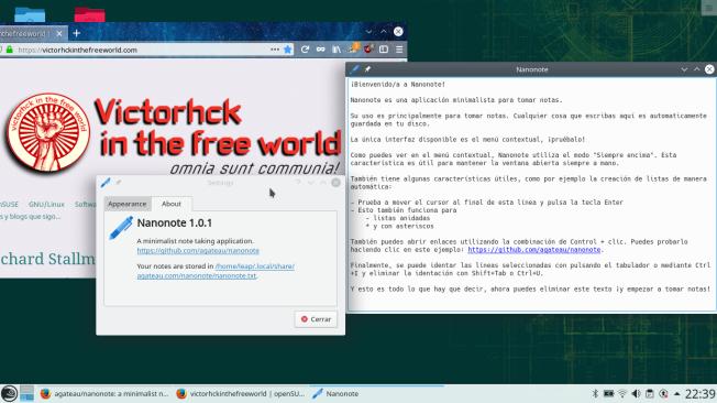 Nanonote en openSUSE en su versión anterior 1.0.1
