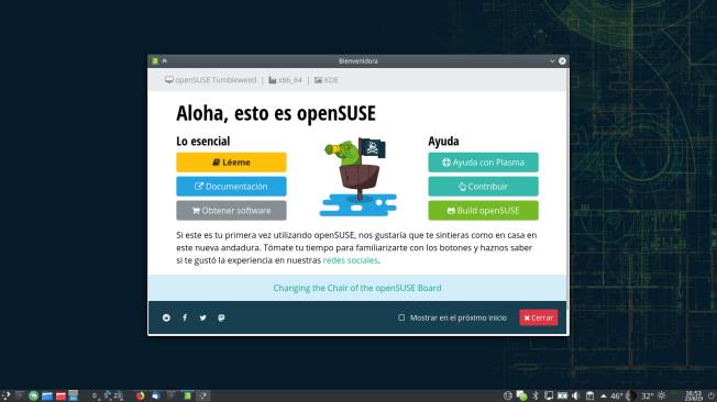 Pantalla de bienvenida a openSUSE